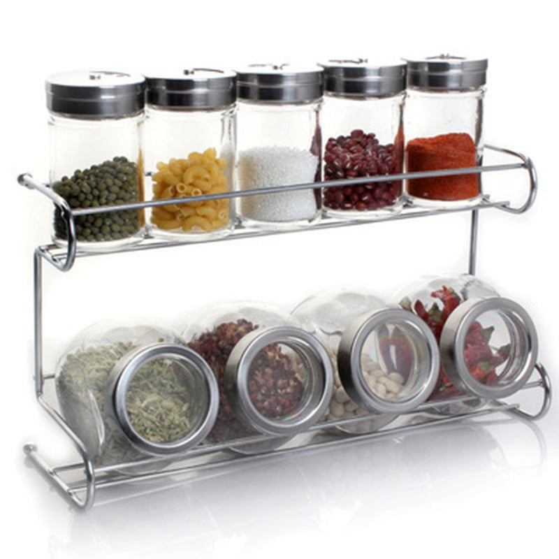 13 Piece Set Seasoning Bottles and Rack