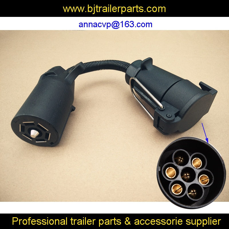 CVP 7 pin trailer round socket female plug to 7 RV blade, trailer adapter connector 7 pin trailer parts