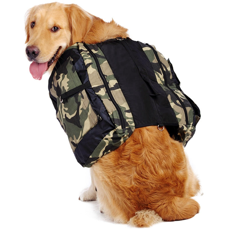 Pet Dog Backpack Harness Oxford Cloth Large Dog Saddle bag Outdoor Travel Hiking Backpack