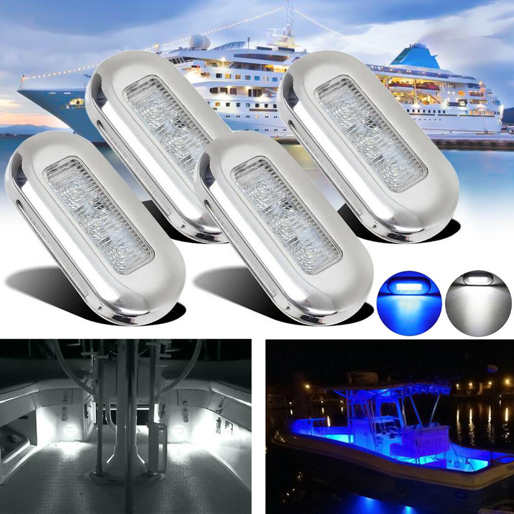 4Pcs 3 LED 12V Boat Stair Deck Side Marker Light Indicator Turn Signal Lighting Taillights For Marine, Camper, RV.