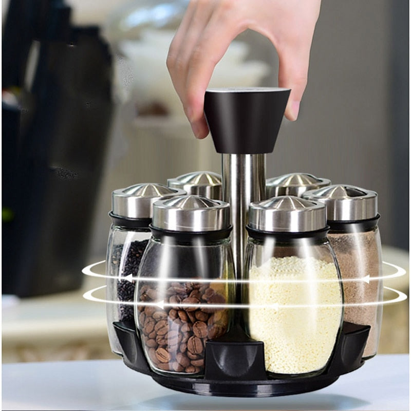 1 Set Glass Spice Jar Rotating Seasoning Box
