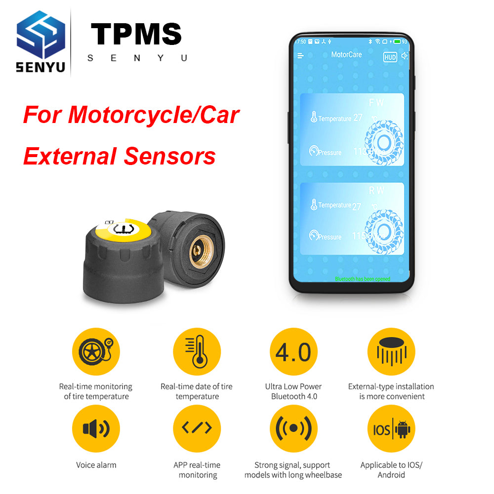 TPMS Tire Pressure Sensor TPMS Motorcycle Car Auto External Sensors for Android IOS tpms Monitoring System tmps tire pressure
