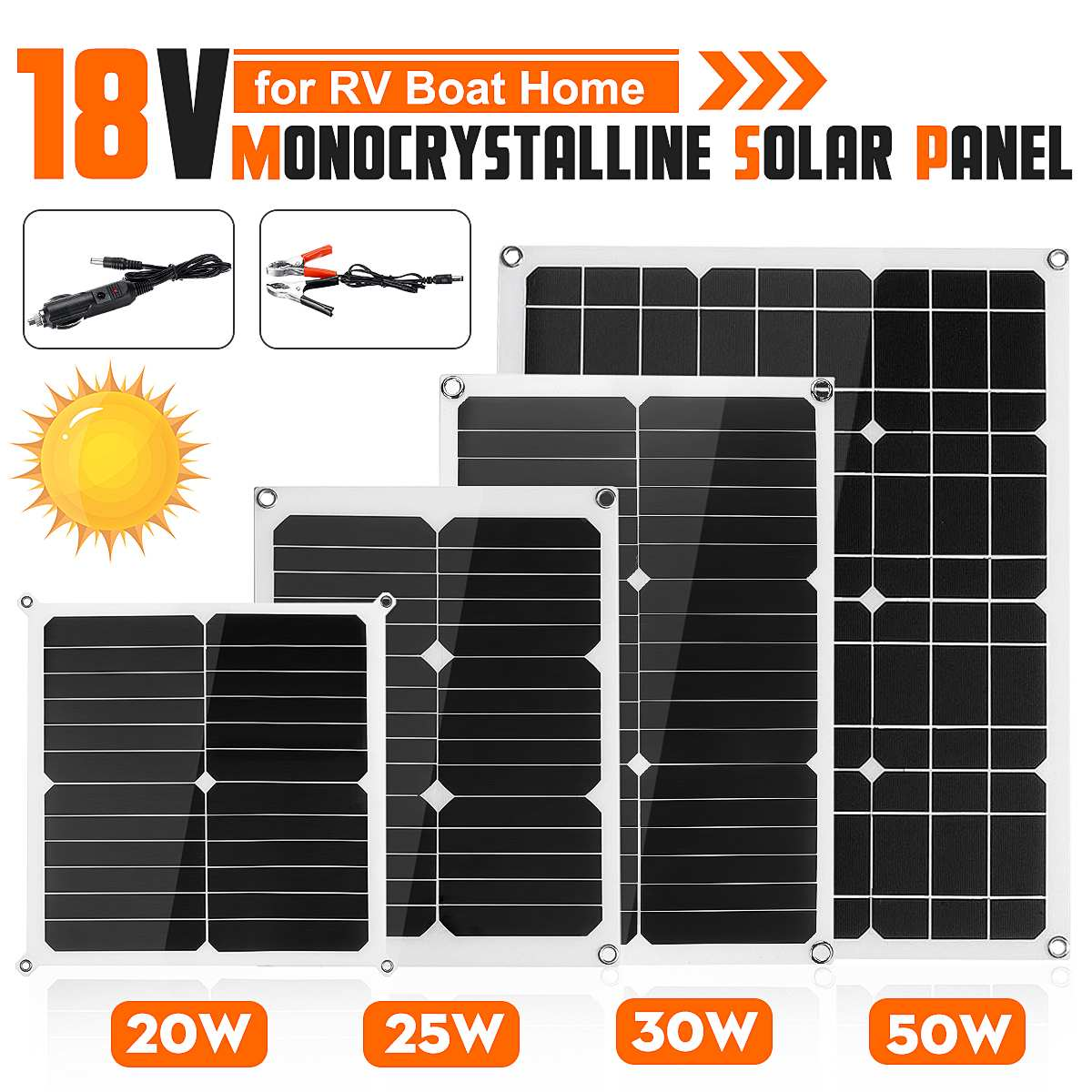 10W 20W 30W 50W Outdoor Solar Panel Solar Cells 5/12/18V Poly Solar Panel Battery Controller for Motorhome Car Yacht RV Boat