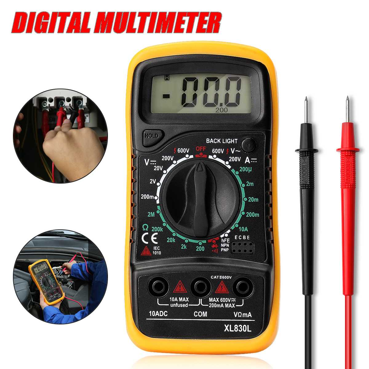 ZEAST Portable Electrical Digital Multimeter Backlight AC DC Ammeter Voltmeter Ohm Tester Meter Handheld LCD Voltmeter Volt