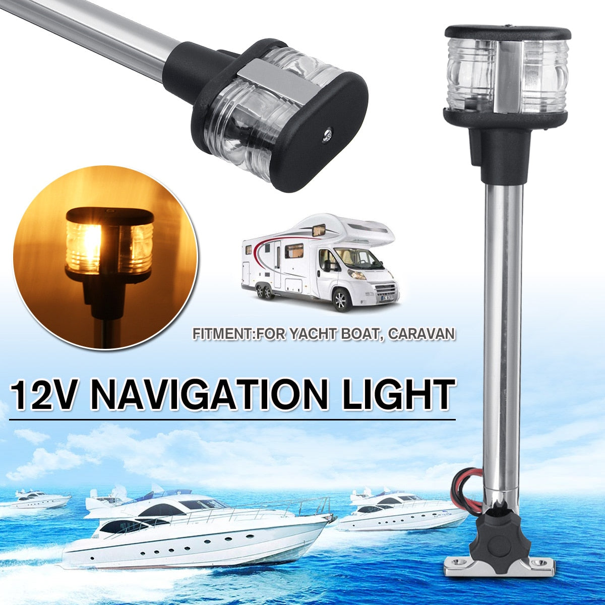 Fold Down Fold Down LED Navigation Light For Yacht Boat Stern Anchor Light 12-24V 25cm Pactrade Marine Boat Sailing Signal Light