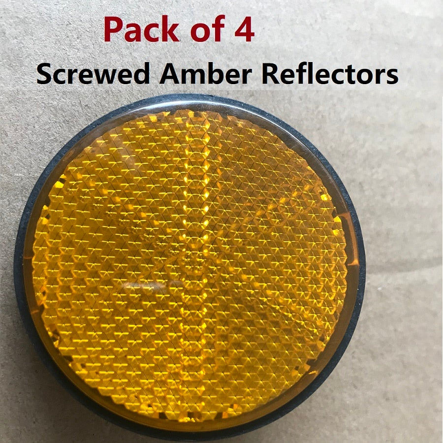 4pcs Amber Screws Round Reflectors