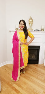 Yellow Threadwork Pant Suit