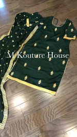 Forest Green Crepe Handwork Suit