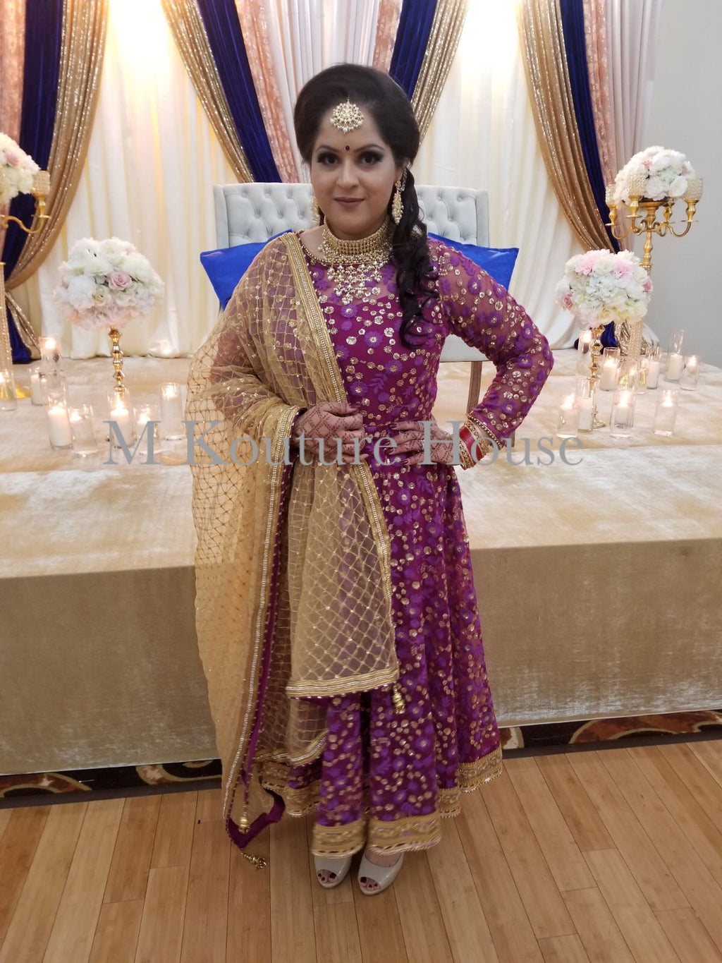 Purple Net Anarkali