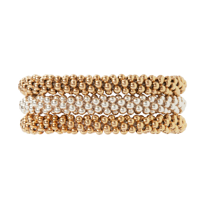 Our Classic Trio Collection which combines 3 bracelets, sterling silver, 14 Kt Gold, and Rose Gold