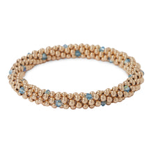 Load image into Gallery viewer, 14 KT gold filled beads bracelet featuring Aqua Marine Swarovski crystals  in a dot design