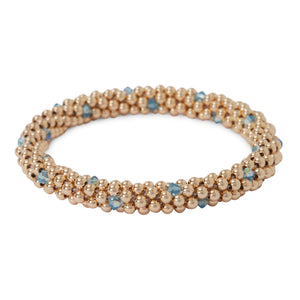 14 KT gold filled beads bracelet featuring Aqua Marine Swarovski crystals  in a dot design