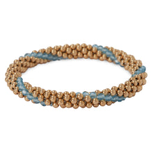 Load image into Gallery viewer, 14 Kt Gold filled bracelet with Aqua Marine Line Design Bracelet