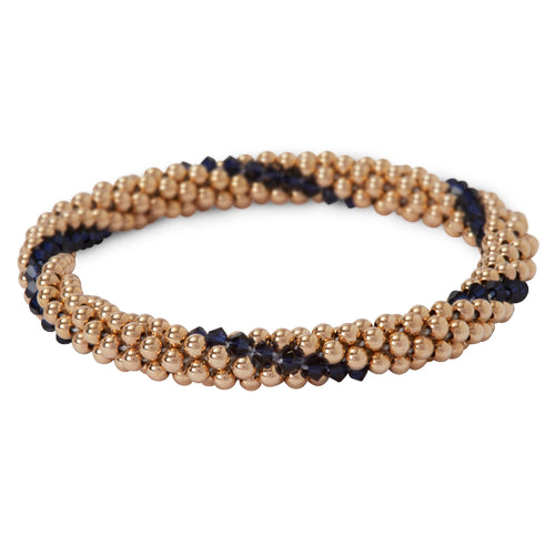 Our 14 Kt Gold-Filled, beaded, stackable bracelet with Indigo Blue Line Design Bracelet
