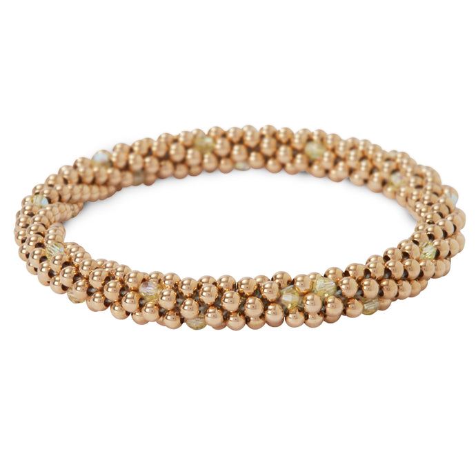 14 Kt gold filled beaded bracelet with Jonquil Swarovski crystals in a dot design