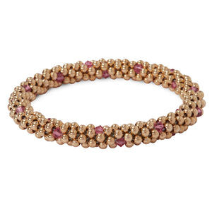 14 Kt gold filled beaded bracelet with Rose Swarovski crystals in a dot design