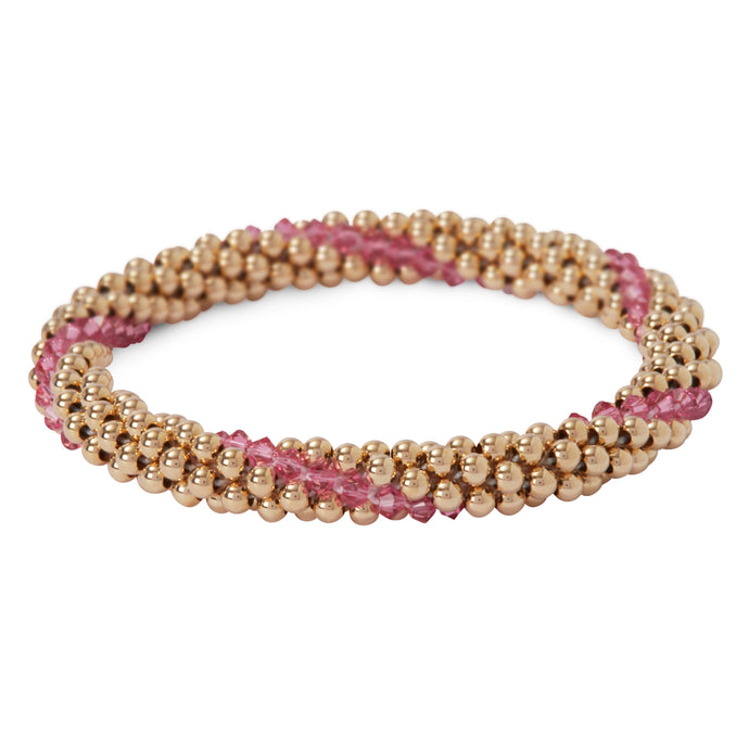 14 Kt gold filled beaded bracelet with Rose Swarovski crystals in a line design
