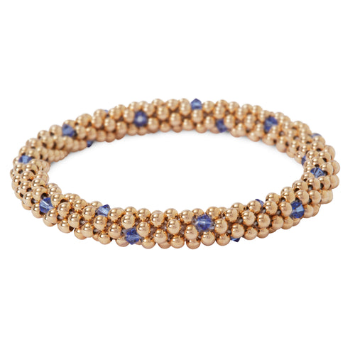 14 Kt gold filled beaded bracelet with Sapphire Swarovski crystals in a dot design