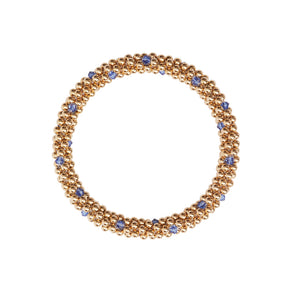 14 Kt gold filled beaded bracelet with Sapphhire Swarovski crystals in a dot design