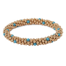 Load image into Gallery viewer, 14 Kt gold filled beaded bracelet with Turquoise Swarovski crystals in a dot design