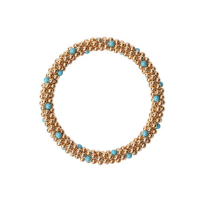 14 Kt gold filled beaded bracelet with Turquoise Swarovski crystals in a dot design