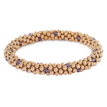 Load image into Gallery viewer, 14 Kt gold filled beaded bracelet with Tanzanite Swarovski crystals in a dot design