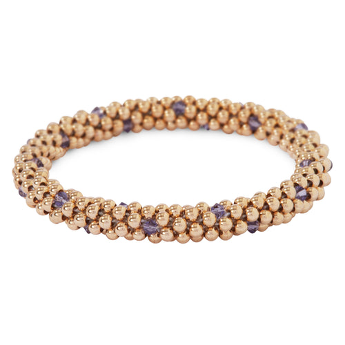 14 Kt gold filled beaded bracelet with Tanzanite Swarovski crystals in a dot design