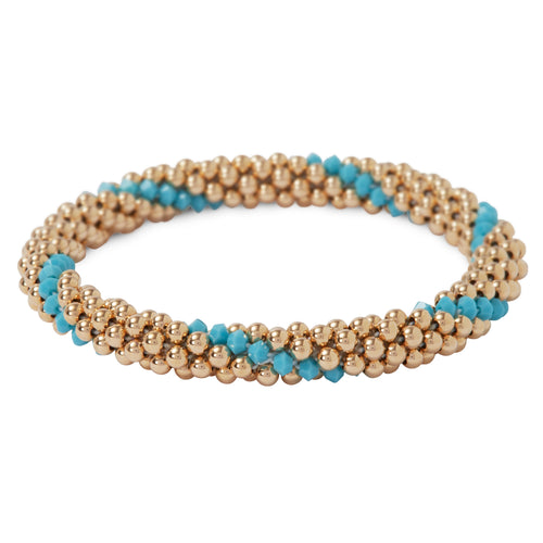 14 Kt gold filled beaded bracelet with Turquoise Swarovski crystals in a line design