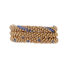 Load image into Gallery viewer, A photo of our very popular trio featuring our Classic Gold Bracelet, Gold with Sapphire Lines, an Gold with Sapphire Dots