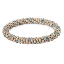 Load image into Gallery viewer, Sterling silver beaded bracelet with Aqua Marine Swarovski crystals in a dot design