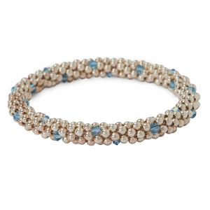 Sterling silver beaded bracelet with Aqua Marine Swarovski crystals in a dot design