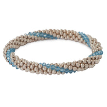 Load image into Gallery viewer, Sterling silver beaded bracelet with Aqua Marine Swarovski crystals in a line design