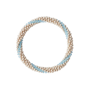 Sterling silver beaded bracelet with Aqua Marine Swarovski crystals in a line design