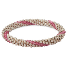Load image into Gallery viewer, Sterling silver beaded bracelet with Rose Swarovski crystals in a line design