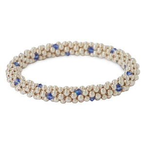 Sterling silver beaded bracelet with Sapphire Swarovski crystals in a dot design