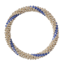 Load image into Gallery viewer, Sterling silver beaded bracelet with Sapphire Swarovski crystals in a line design