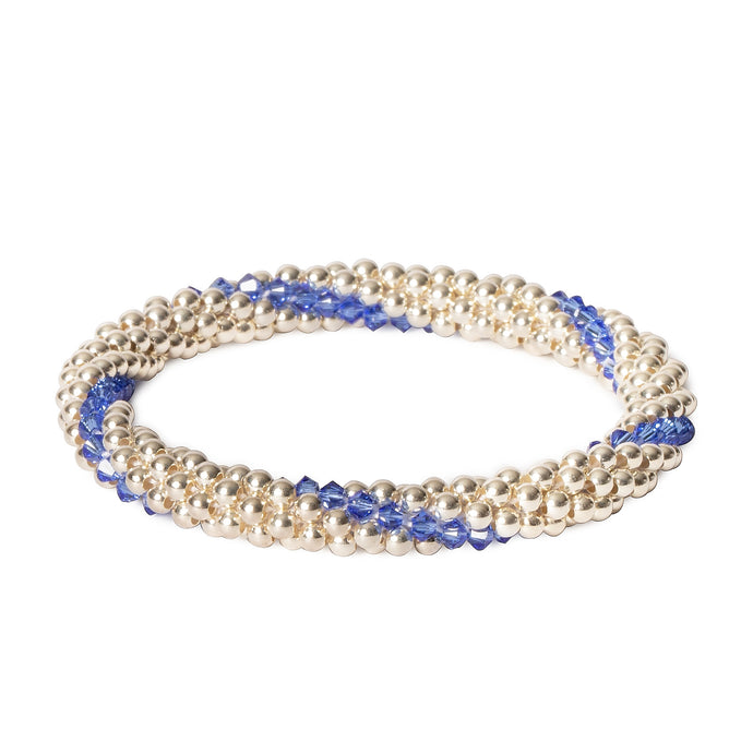 Sterling silver beaded bracelet with Sapphire Swarovski crystals in a line design