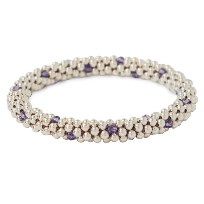 Sterling silver beaded bracelet with Tanzanite Swarovski crystals in a dot design