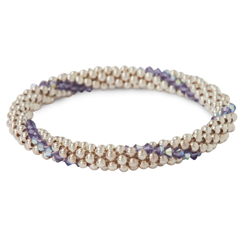 Sterling silver beaded bracelet with Tanzanite Swarovski crystals in a line design