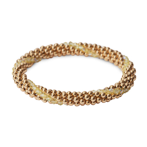 14 Kt gold filled beaded bracelet with Jonquil Swarovski crystals in a line design
