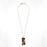 Double rock multi-coloured pendant necklace