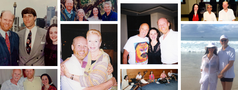 Pictured from left to right, top to bottom: Michael and Paulina with Tony Robbins, with Ram Dass, Hal & Sidra Stone, Louise Hay, Wayne Dwyer, xx?, Desikacher and Michael and Paulina in their beloved Byron Bay, NSW, Australia - home for the past xx years.