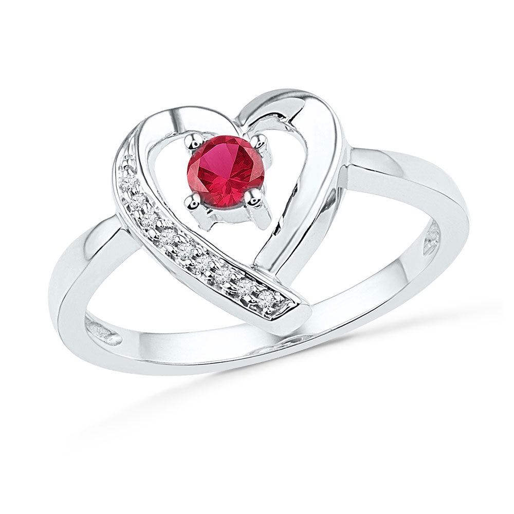 Sterling Silver Womens Round Lab-Created Ruby Solitaire Diamond Heart Ring 1/4
