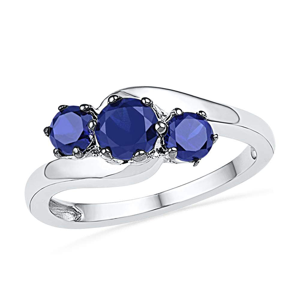 Sterling Silver Womens Round Lab-Created Blue Sapphire 3-stone Ring 1-1/2 Cttw
