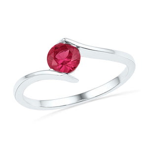 Sterling Silver Womens Round Lab-Created Ruby Solitaire Ring 3/4 Cttw