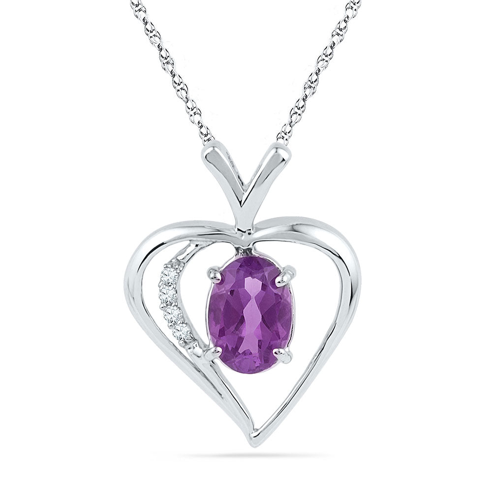 Sterling Silver Womens Round Lab-Created Amethyst Heart Pendant 3/4 Cttw