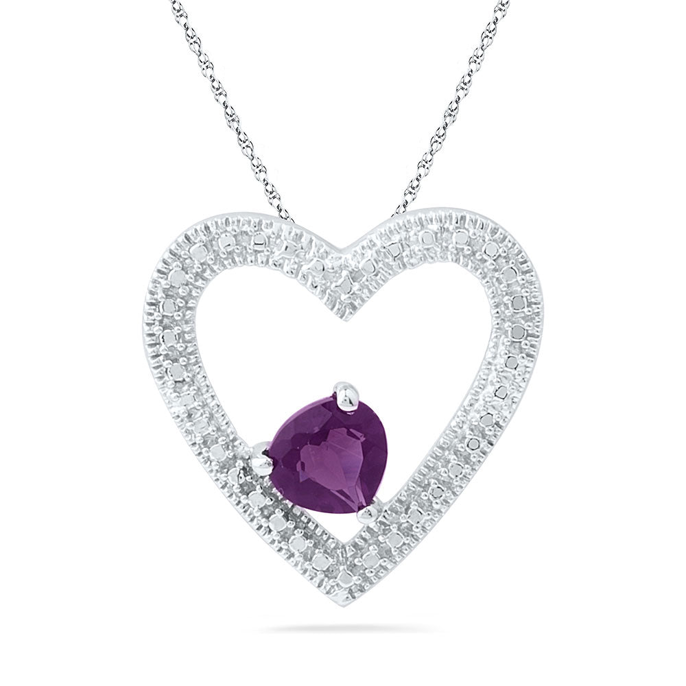 Sterling Silver Womens Round Lab-Created Amethyst Solitaire Heart Pendant 5/8