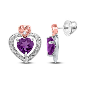 Sterling Silver Womens Round Lab-Created Amethyst Heart Earrings 7/8 Cttw