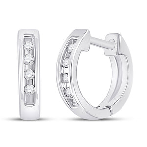10k White Gold Womens Round Diamond Single Row Huggie Earrings 1/20 Cttw