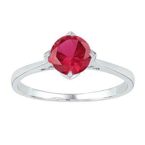 Sterling Silver Womens Round Lab-Created Ruby Solitaire Ring 1 Cttw